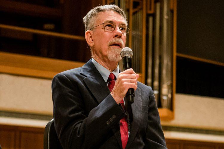Preconcert talk facilitator Dave Oliphant