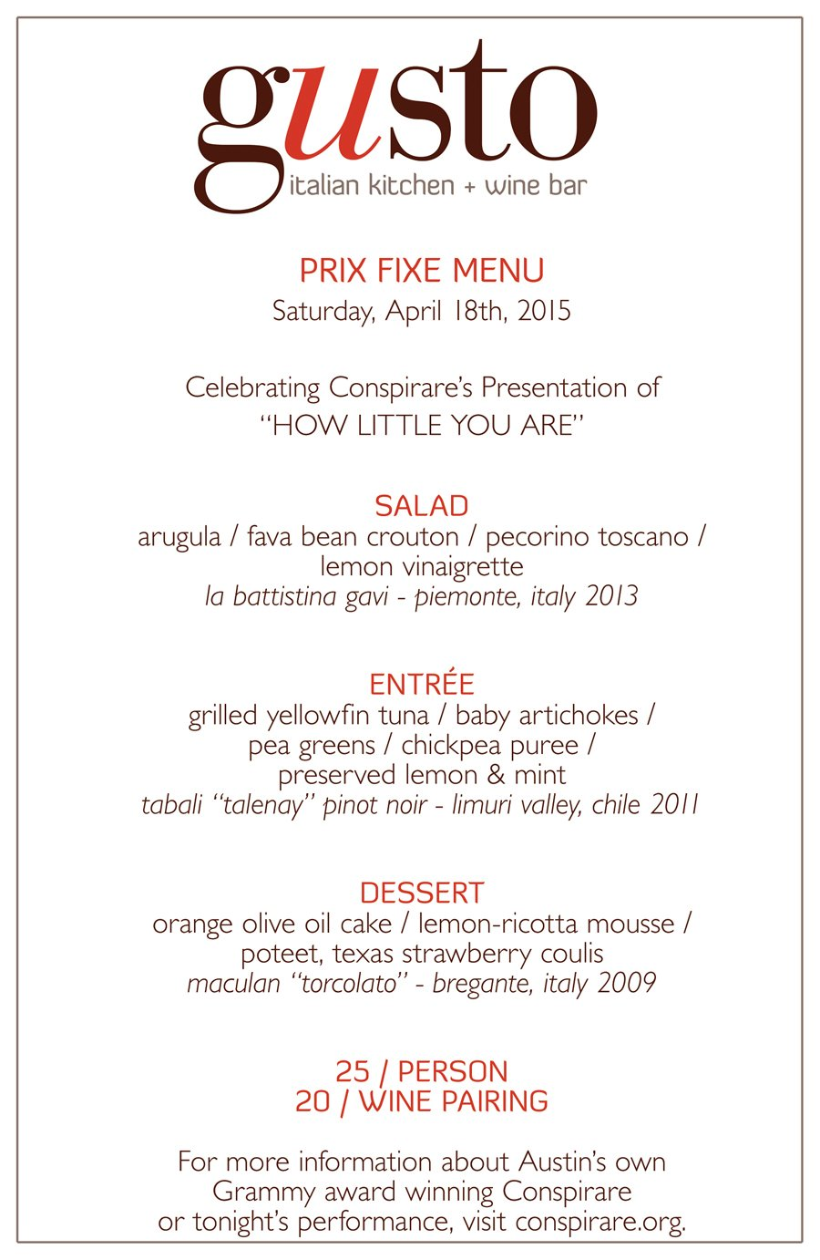 Special Gusto Prix Fixe Dinner Menu For Quot How Little You